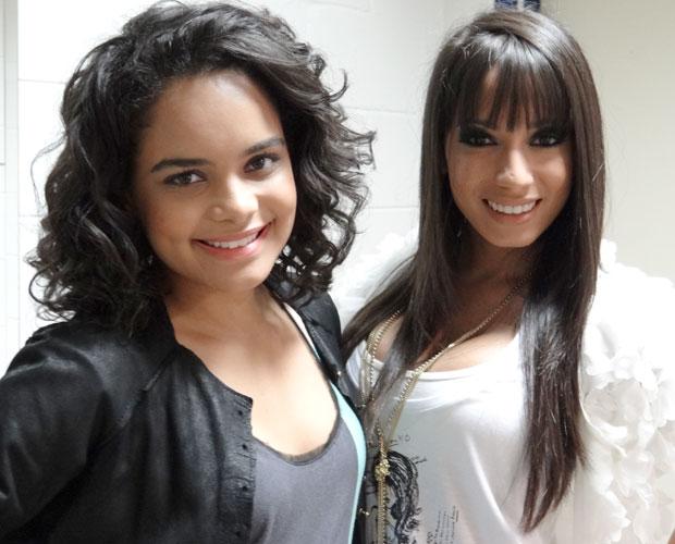 Carol Macedo e Mc Anitta na TV Garagem do Faustão (Foto: Domingão / TV Globo)