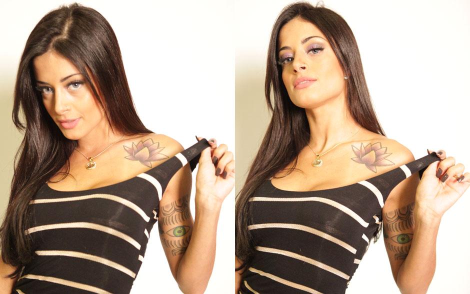 Famosa por suas tatuagens, Aline Riscado garante que todas ficam visíveis quando está de biquíni