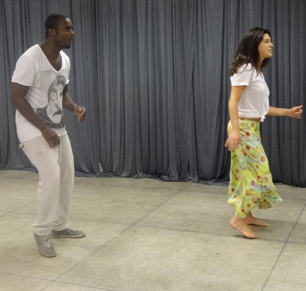 Muita sintonia no treino da Fê e Zulu (Foto: Caldeirão do Huck/ TV Globo)