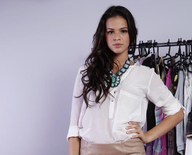 'Não me sentiria a vontade para posar nua', diz Bruna Marquezine (Foto: Domingão do Faustão/ TV Globo)