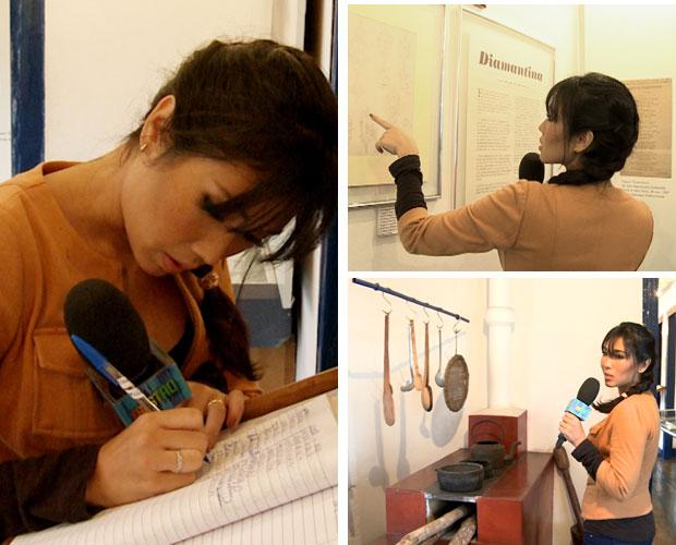 Daniele Suzuki visita a casa de JK em Diamantina (Foto: Domingão do Faustão / TV Globo)