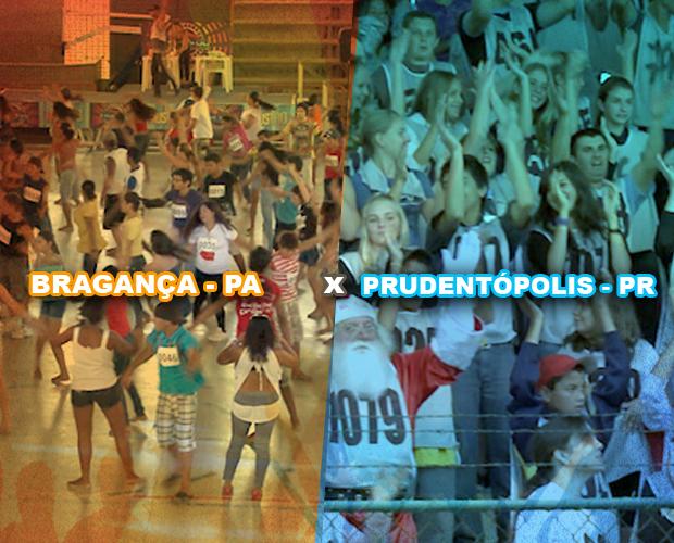 Bragança e Prudentópolis se enfrentam no domingo no Dança da Galera (Foto: Domingão do Faustão/TV Globo)