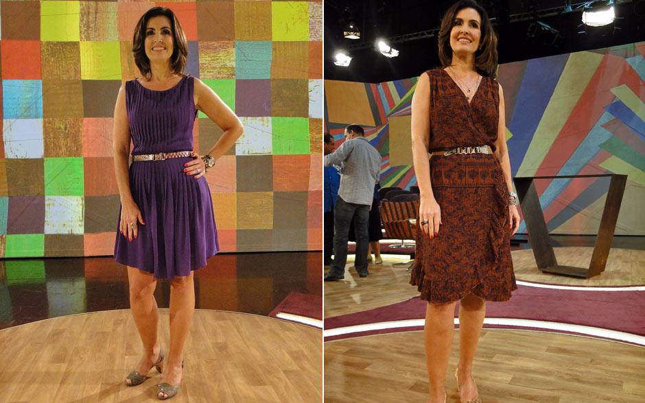 No início da semana, Fátima preferiu os vestidos e usou um roxo plissado na segunda. Na terça, ela abusou dos tons terrosos