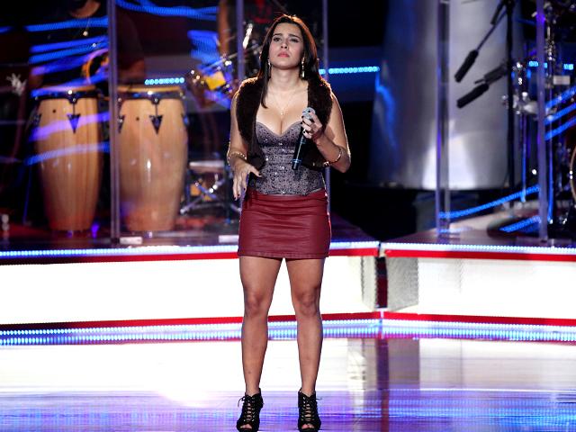 Mayara Prado, de 23 anos, escolheu uma canção de Bruno e Marrone para se apresentar no palco do The Voice Brasil