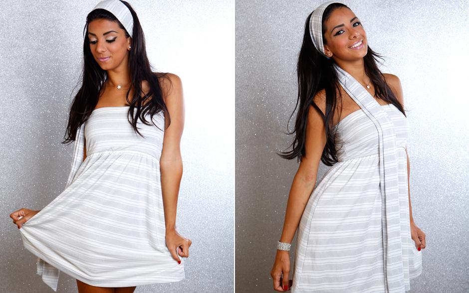 Tainá Grando arrasou com o vestido branco com faixas prateadas