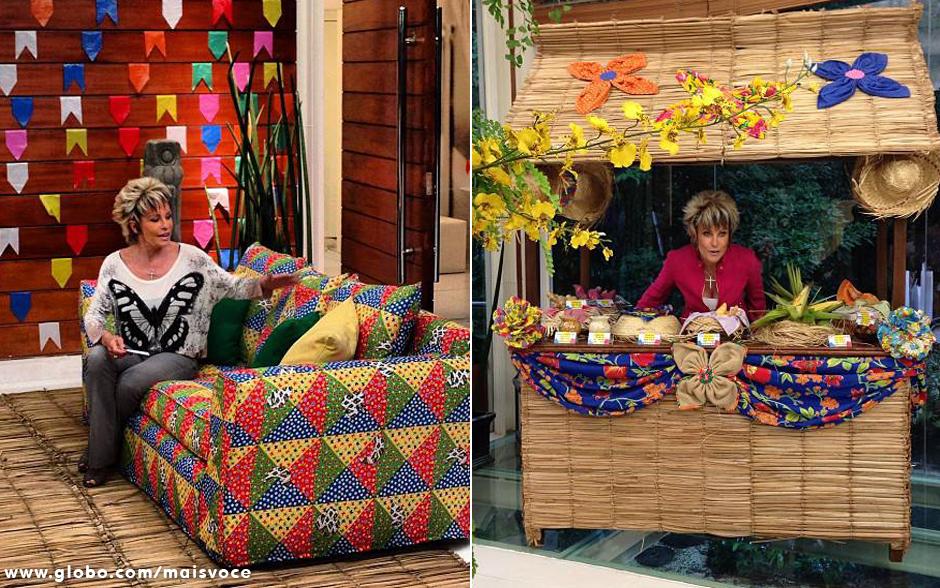 decoracao festa caipira:Decoração especial: uma barraquinha junina foi construída na casa