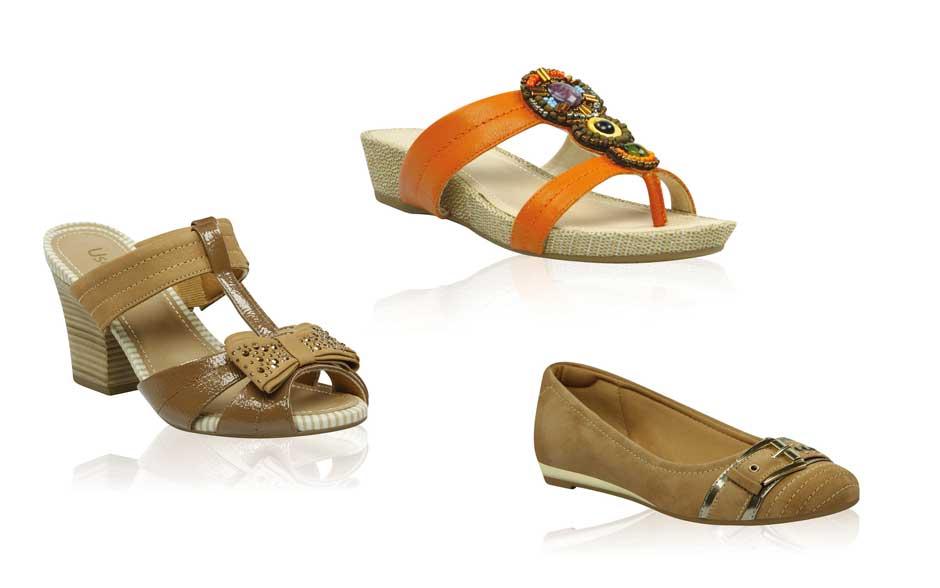 TRIBAL CHIQUE - Apostando na cor Torrone, os calçados recebem detalhes em bordados e trançados que chegam com força para a estação