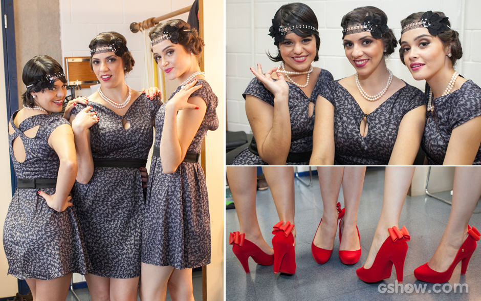 As meninas da Cluster Sisters capricharam no look vintage romântico! O vermelho dos sapatos com lacinhos e os colares de pérolas dão um charme especial e contrapõem com os vestidos de estampas básicas!