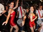 Sem Caio Castro, Monique Alfradique samba na Viradouro