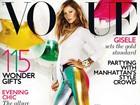 Gisele Bündchen usa calça supercolorida em capa de revista