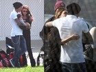 Victoria and David Beckham with their kids at a soccer practice in Los...