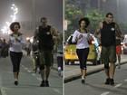 Sheron Menezzes faz corrida noturna na orla do Rio de Janeiro