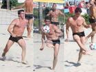 Márcio Garcia exibe corpão em praia do Rio