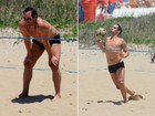 Edmundo capricha nas jogadas de futevôlei sob sol forte no Rio