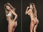 Cacau se lambuza de chocolate em ensaio sensual para 'Playboy'