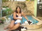Bebê de Solange Couto já convive com gatos de estimação da família