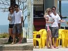 Juliana Didone e Bruno Mazzeo trocam beijos na orla do Rio