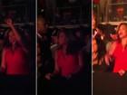 Grávida, Beyoncé se diverte durante show de Jay-Z e Kanye West