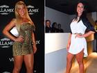 Ex e atual panicat usam vestidos curtíssimos para curtir festa