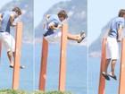 Em dia de sol, Kayky Brito se exercita no Rio