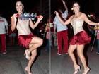 Rainha de bateria da Renascer de Jacarepaguá usa saia curta em ensaio