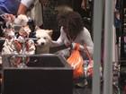 Adriana Bombom faz compras acompanhada de seu cachorro