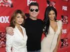 Nicole Scherzinger investe em decote em entrevista coletiva do 'The X Factor'