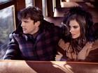 Alessandra Ambrósio e Ashton Kutcher posam em trem para grife