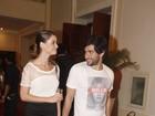Reconciliação: Alinne Moraes e Felipe Simão vão juntos a festa