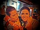 Fernanda Souza e Giovanna Antonelli comem pastel em pausa de gravação