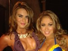 Panicats Renata Molinaro e Carol Narizinho exibem decotes no Twitter
