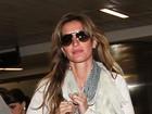 Gisele Bündchen desembarca em São Paulo para lançar lingerie