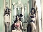 Kim Kardashian e as irmãs posam para foto só de lingerie