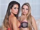 Jéssica Lopes e Graciella Carvalho posam juntas de lingerie