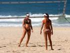 Com barrigão de seis meses, filha de Isabel joga vôlei de praia no Rio