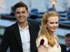 Sem o bigodinho, Zac Efron divulga novo filme com Nicole Kidman