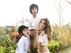 Isabeli Fontana posa com os filhos para revista