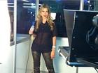 Ex-BBB Adriana exibe boa forma com blusa transparente em rodeio
