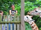 Katie Holmes e a filha Suri Cruise alimentam girafas no zoológico