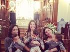 Isabella Fiorentino comemora aniversário dos trigêmeos com missa
