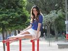 Fabiana Schunk, do 'Zorra Total',  mostra as pernas em ensaio