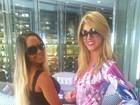 Val Marchiori veste Mulher Melão em Miami e diz: 'Já está mais fina!'