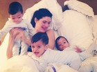 Isabella Fiorentino posta foto de farra com seus trigêmeos na cama