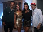 Com o namorado, Nicole Bahls vai a aniversrio de Gracyanne