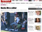 David Beckham se senta no colo da esposa Victoria em jogo
