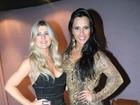 Ex-BBBs Iris Stefanelli e Kelly usam vestidos curtinhos em São Paulo