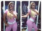 De body cor-de-rosa, Andrea de Andrade diz: 'Me achando a Barbie'