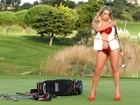 De lingerie, Peladona de Congonhas posa em campo de golfe em Lisboa