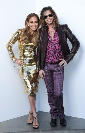 Os jurados do 'American Idol' Steven Tyler e Jennifer Lopez em Los Angeles, nos Estados Unidos (Foto: Getty Images/ Agência)