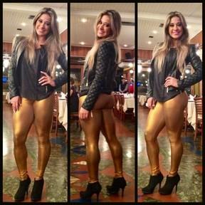 Ex-BBB Mayra Cardi em churrascaria no Rio (Foto: Twitter/ Reprodução)